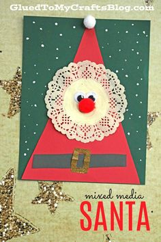 Mixed Media Paper Doily Santa - Christmas Kid Craft crafts for kids for teens to make ideas crafts crafts Christmas Projects For Kids, Preschool Christmas Crafts, Christmas Arts And Crafts, Santa Crafts, Winter Crafts For Kids, Noel Christmas, Christmas Activities, Holiday Crafts, Christmas Decorations