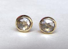 Earrings studs Similar diamond stone-  White Topaz earrings Recycled 14k Gold earrings Gold studs  earrings  5mm. $85.00, via Etsy.