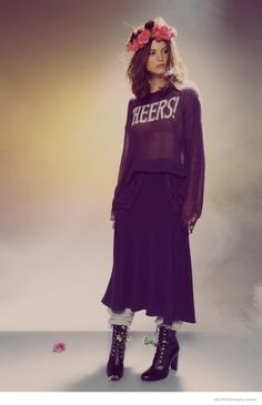 Charlbi Dean Kriek in Comfy Sweaters for Wildfox White Label Fall 14 Line