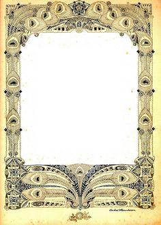 av vignet b bew Vintage Labels, Vintage Ephemera, Vintage Paper, Vintage Art, Antique Frames, Vintage Frames, Art Nouveau, Molduras Vintage, Printable Frames