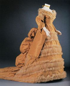 Taffeta bustle gown from Lord & Taylor, circa 1874.