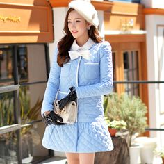 DABUWAWA Original 2016 Brand Winter Mermaid Jacket Bow Pockets Slim Elegant Fashion Women's Long Light Blue Parka -in Parkas from Women's Clothing & Accessories on Aliexpress.com | Alibaba Group