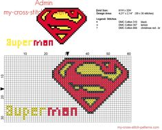 Superman Superhero colored small logo cross stitch pattern 59 x 30 stitches 3 DMC threads