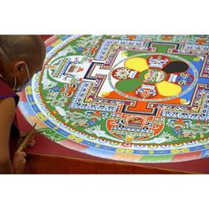 A monk works to complete a colorful at on Thursday in honor of… Buddhist Monk, 80th Birthday, Dalai Lama, Thursday, Buddha, Colorful, Image, Mandalas, 80 Birthday