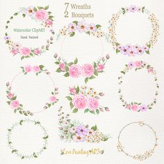 :::::: ITEM DETAILS :::::: This collection have ** 7 Wreaths & 2 Bouquets ** high quality hand painted watercolor flowers. ****** Roses , Cosmos , orchids (Dendrobium densiflorum Lindl.) , Lily valley ,Leaves. ****** *** 7 Wreaths & 2 Bouquets**** -- Ranging from Approx : 2953 x