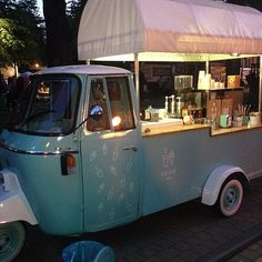 Representing Kraków, Poland. The stylish Tiffany blue Piaggio Ape ice cream and coffee truck of @kavke_cafe.