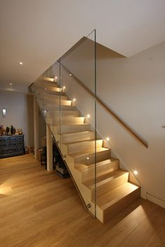 Modern Staircase Design Ideas - Modern stairs are available in numerous design and styles that can be actual eye-catcher in the different area. We have actually compiled finest 10 modern versions of stairways that can provide. Staircase Lighting Ideas, Stairway Lighting, Staircase Design, Stair Design, Entryway Lighting, Entryway Decor, Wall Lighting, Open Staircase, Indoor Stair Lighting