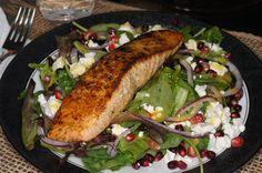 This is from the most wonderful blog -- Salmon, Pomegranate, Feta Salad with Lemon Dijon Vinaigrette