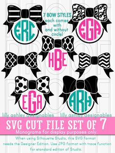 Monogram SVG File Cut File Set of 7 Styles with PNG and JPG