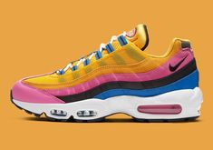 Following up the South Korea-exclusive Air Max 95 Pollen Rise, Nike has revisited its animated ACG aesthetic for the 25-year-old silhouette. Akin to its Black History Month 2020 ensemble, this Air Max 95 features an upper entirely clad in vibrant hues. Mudguards don a bubble-gum pink that also lines the middle suede overlay, tongue and insole logos. Yellow Nikes, Pink Yellow, Blue Air Max, Air Max Sneakers, Sneakers Nike, Air Max 95, Bubblegum Pink, Black History Month, Blue Fashion