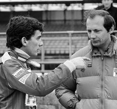Ayrton Senna with Ron Dennis in Silverstone 1983
