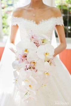 Wedding Bouquet WedLuxe – A Floral Showstopper Infused With Traditional Chinese Elements Orchid Bridal Bouquets, Cascading Wedding Bouquets, Wedding Flower Arrangements, Bride Bouquets, Bridal Flowers, Flower Bouquet Wedding, Floral Wedding, Wedding Colors, Wedding Rustic
