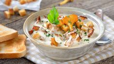 Finely dice cups of chanterelle mushrooms and large chop the remaining ½ cup. In a large soup pot, heat oil over medium-high heat and. Soup Recipes, Cooking Recipes, Polish Recipes, Polish Food, Vegan, Hummus, Potato Salad, Stuffed Mushrooms, Spaghetti