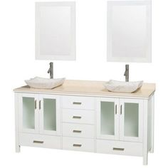 Wyndham Collection Lucy 72 inch Double Bathroom Vanity in White, Ivory Marble Countertop, Avalon Ivory Marble Sinks, and 24 inch Mirrors