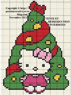 patrones de hello kitty a punto de cruz arbol navidad  - Patrones de Navidad de Hello Kitty a punto de cruz