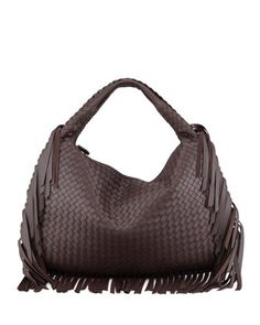 Veneta Large Fringed Hobo Bag, Dark Brown by Bottega Veneta at Neiman Marcus.