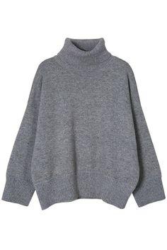 Gray High Low Turtleneck Sweater