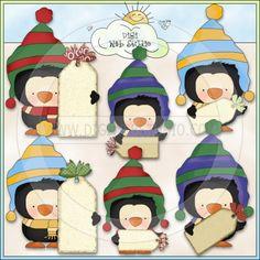 Chilly Pete Christmas Tags 1 - NE Cheryl Seslar Clip Art