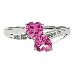Double Pink Sapphire Heart Diamond June Birthstone Ring In Silver Available Exclusively at Gemologica.com Valentine's Day 2015 Jewelry Gift Ideas for Him, Her and Kids. Gemologica has the perfect homemade and creative gifts for your boyfriend, girlfriend and for couples including rings, earrings, bracelets, necklaces and pendants. Shop now for special savings at https://www.gemologica.com Gift Guide Located at https://www.gemologica.com/jewelry-gift-guide-c-82.html