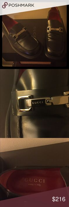 Gucci loafer wedges Gently used semi-wedge loafer with silver Gucci engraved horse bit style nickel hardware, square toe, leather upper, beautiful red leather lining and leather sole. Made in Italy size 4B, comfortable and looks ALMOST new! A very reliable shoe that will probably last forever. Very suitable for a child/ teenager. No box or sleeper. Gucci Shoes Flats & Loafers