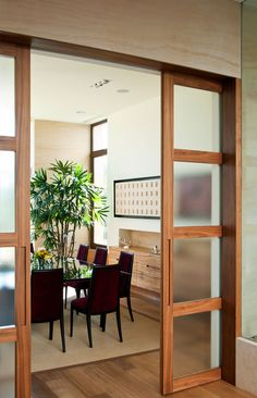Types of Room Dividers That Create Optic Illusions - Room Divider Ideas - Kitchen Cabinets Sliding Doors, Wooden Sliding Doors, Sliding Door Design, Living Room Partition, Room Partition Designs, Room Divider Doors, Room Doors, Retro Living Rooms, Living Room Decor