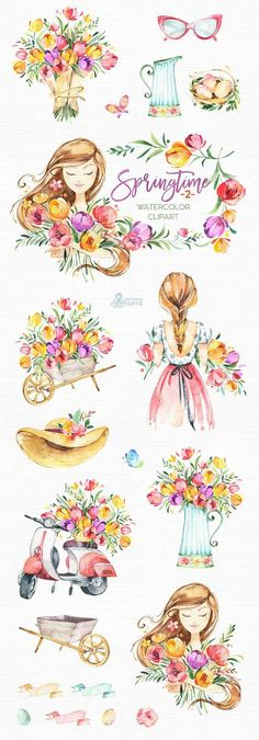 Springtime Watercolor floral clipart girls tulips Source by Watercolor Clipart, Watercolor Girl, Watercolor Invitations, Watercolor Flowers, Watercolor Paintings, Drawing Flowers, Painting Flowers, Watercolor Wedding, Watercolor Ideas