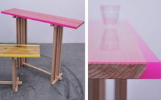 Jo Nagaska's interpretation of a traditional low Hassoku Daitable: Flat Table Peeled with neon pink epoxy resin.