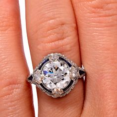1920s Sapphire Diamond Platinum Ring | From a unique collection of vintage engagement rings at http://www.1stdibs.com/jewelry/rings/engagement-rings/
