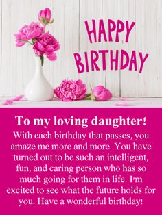 Free happy birthday cards daughter granddaughter daughter in flowers for loving daughter happy birthday card on your daughters birthday let her know how very impressed you are with who she has become bookmarktalkfo Image collections