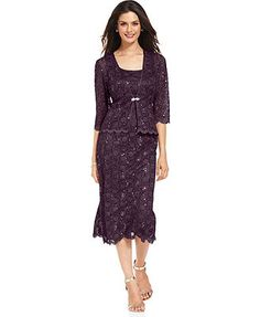 R&M Richards Sequin Lace Sheath and Jacket - @ Macy's - plum mother of bride dress