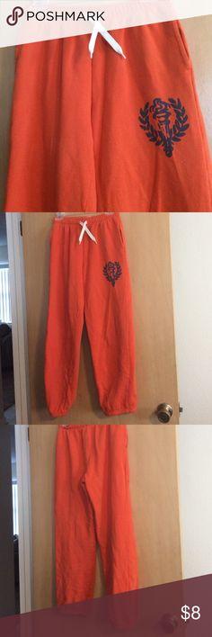 Old Navy sweats Orange w/ blue logo, elastic cropped bottom, elastic/drawstring wAist, tiny hole Old Navy Pants