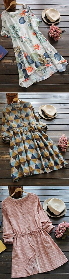 Romacci Women Boho Dress Casual Irregular Maxi Dresses Layer Vintage Loose Long Sleeve Linen Dress with - Cute Fashion Corner Mode Style, Style Me, Mode Outfits, Fashion Outfits, Fashion Clothes, Boho Clothing, Clothing Stores, Fashion Trends, Dress Fashion
