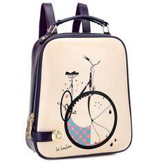 Trendy Bike Print and Color Block Design Women's Satchel