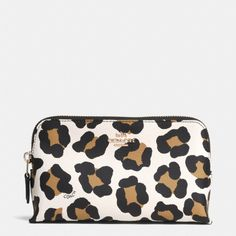 The Small Cosmetic Case In Ocelot Print Leather from Coach