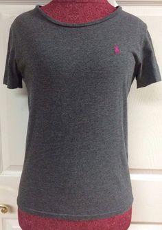 Ralph Lauren Sport Gray Short Sleeve T-Shirt Top Pink Pony Logo Size Medium EUC #RalphLaurenSport #BasicTee