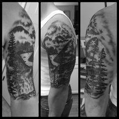 A river runs through it, Pacific Northwest, trees and mountains tattoo #originink