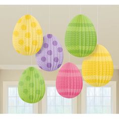 Pleated 3D Mini Egg Decoration 5in 6ct | Wally's Party Factory #easter #egg #decor