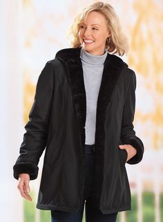 Microfiber Faux Fur-lined Coat - AmeriMark - Online Catalog Shopping for Womens Apparel | Beauty Products | Jewelry | Womens Shoes | Health | Wellness