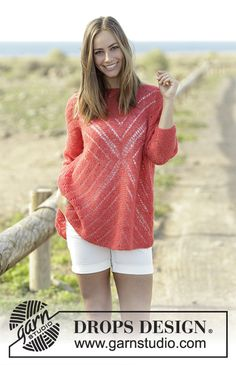Center of my Heart - Jumper with lace pattern, worked from centre and outwards in a square in DROPS Brushed Alpaca Silk. Size: S - XXXL Free knitted pattern DROPS 178-56