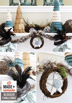 Luxe and Rustic Mantel >> http://blog.diynetwork.com/maderemade/2013/10/02/luxe-and-rustic-mantel-design-by-amy-bell/?soc=pinterest
