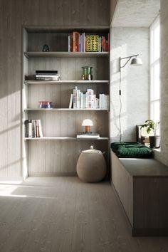 Bookshelves, Bookcase, Summer House Interiors, Summer Cabins, Kallax, Grey Stone, Flooring, Living Room, Interior Design