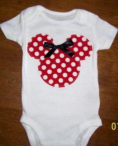 Minnie Mouse Onesie Size newborn to 24 month onesie or size 2 or 4 shirt. $12.99, via Etsy.