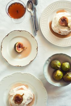 Mini Pavlovas with Poached Figs and Greek Yoghurt