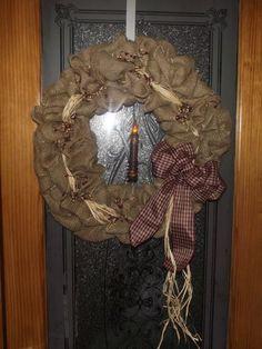 "20"" Primitive Burlap Wreath with LED $39.99 (free s/h)"