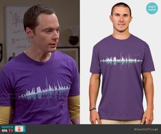 Sheldon's purple sound wave tee on The Big Bang Theory. Outfit Details…