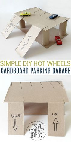 Simple DIY Hot Wheels Cardboard Parking Garage. A perfect toddler craft that will provide HOURS of fun!