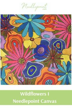 We are loving this colorful floral needlepoint canvas from Sandi Garris. Needlepoint Designs, Needlepoint Kits, Needlepoint Canvases, Ribbon Work, Silk Ribbon, Back Pictures, Hanging Signs, Cross Stitch Flowers, Wild Flowers