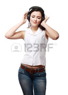 Young woman with headphones listening music happy eyes closed