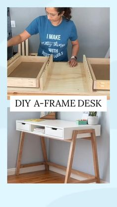 Diy Furniture Plans Wood Projects, Woodworking Projects, Furniture Design, Furniture Storage, Simple Wood Projects, Diy House Projects, Desk With Drawers, Diy Drawers, How To Make Drawers