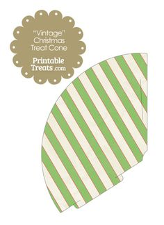 Vintage Red White and Green Diagonal Striped Printable Treat Cone from PrintableTreats.com